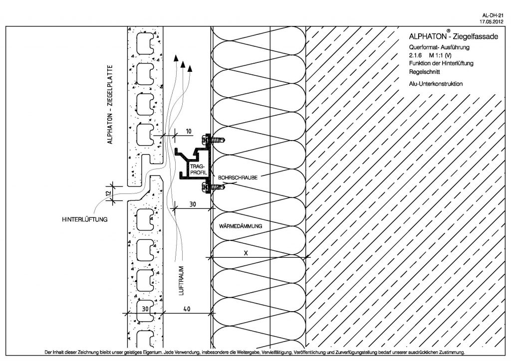 Vertical section back ventilation