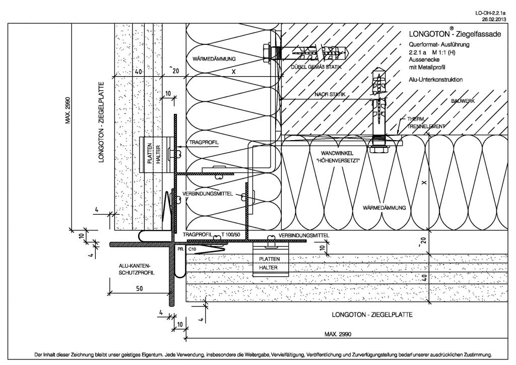 External corner with metal profile
